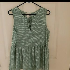 LOFT green and white patterned top